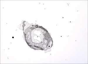 2007. Ink on paper. 30 x 22 in.The Messier Catalogue (Proof of Concept): M57. 2007. Ink on paper. 30 x 22 in.