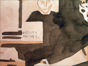 "Tell Me What to Paint: ""Deputy Prince."" 2006. Watercolour, gouache, and graphite on paper. Detail."
