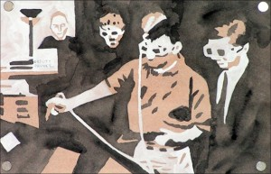 """Tell Me What to Paint: """"Deputy Prince."""" 2006. Watercolour, gouache, and graphite on paper. 9.75 x 6.5 in."""